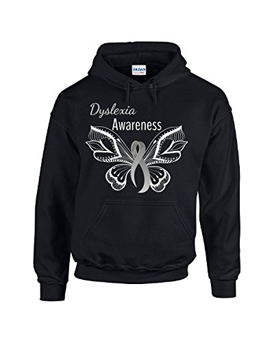 Dyslexia Awareness Butterfly With Gray Ribbon - Adult Hoodie 3xl Black