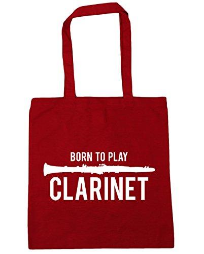 HippoWarehouse Born to Play Klarinette Einkaufstasche Fitnessstudio Strandtasche 42cm x38cm, 10 liter - Klassisch Rot, One size