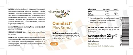 62bdd1cf6c2d Vita World Probiotique Omnilact Plus Supra 60 Capsules + Vitamine C + Zinc  + L-Histidine Made in Germany  Amazon.fr  HygiÚne et Soins du corps