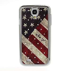 Zaki-USA Flag Pattern Diamond Encrusted Plating Skinning Case for Samsung Galaxy S4 i9500