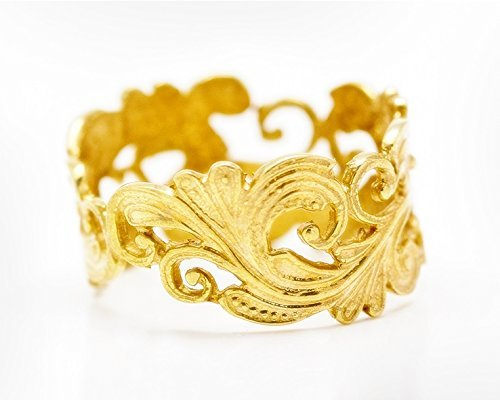 Handmade Vintage wedding band for women, 22k gold plated silver.