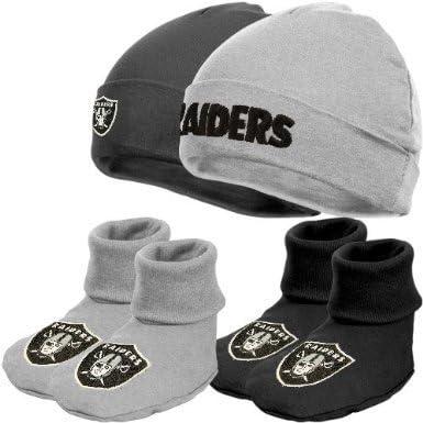 NFL Las Vegas Raiders Infant Clothing Set, 4-Piece, 2 Caps & 2 Booties