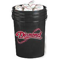 Cubo de bolas de 6 galones de diamante con 30 pelotas de béisbol de DOB, negro