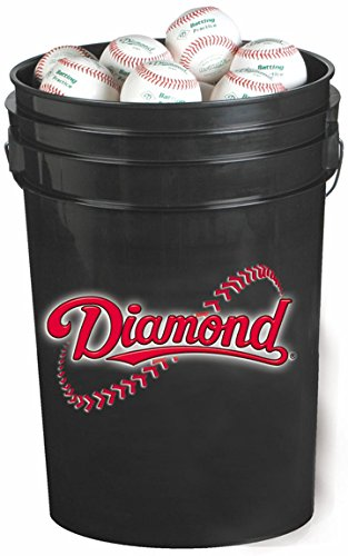 Diamond 6-Gallon Ball Bucket with 30 DOL-A Baseballs, Black - Leather Baseball Diamond