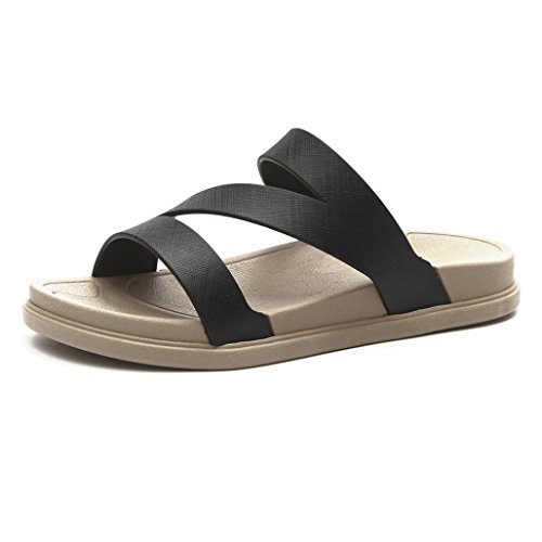 Longra 2018 Women's Summer Sandals,Spring Flat Shoes Bead Flat Toe Bath Slippers Casual Wedge Sandals Leisure Sandals Black