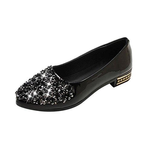 Slip Plates Causal On Soldes Noir Fille overdose Strass Hiver Automne Ballerines En Flats Talon Danse Femme Cuir Chaussures qB8g64wq