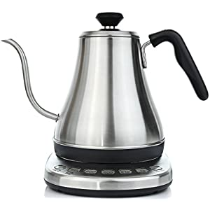 Electric Gooseneck Kettle with Temperature Presets - 1L Electric Tea Pot Kettles with Temperature Control - Stainless Steel Coffee Teapots Kettle and Electric Teapot Pour Over