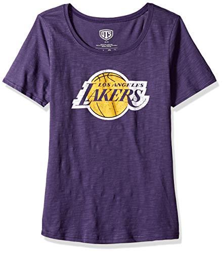 OTS NBA Los Angeles Lakers Female Slub Scoop Tee Distressed, Purple, Medium