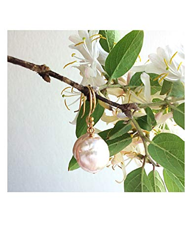 White Coin Pearl Earrings - Gold- Filled