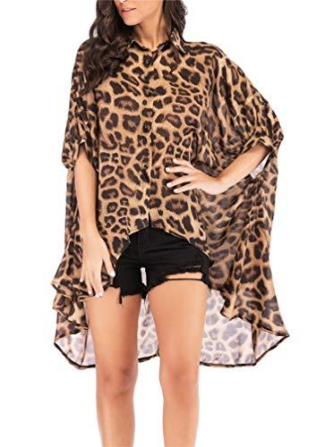 LeaLac Women's Batwing Sleeve Button Down Tops Casual Leopard Print Animal PrintChiffon Blouse L361-181 Leopard M