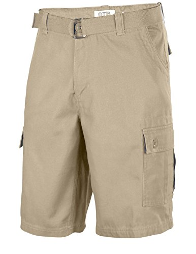 One Tough Brand Men's Cotton Twill Belted Cargo Shorts-Light Coffee-36