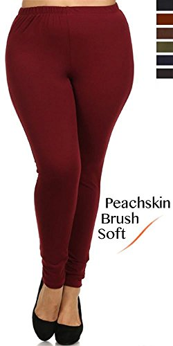 Plus Size Super Soft Peachskin Basic Solid Leggings (Burgundy)