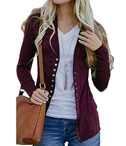 Women's V-Neck Solid Solid Button Down Knitwear Soft Basic Long Sleeve Knit Snap Cardigan Sweater Wine Red XL ()