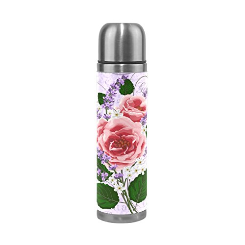 My Little Nest Vacuum Insulated Water Bottle Vintage Floral Pink Roses Lavenders Stainless Steel Travel Mug thermos Flask 500ML