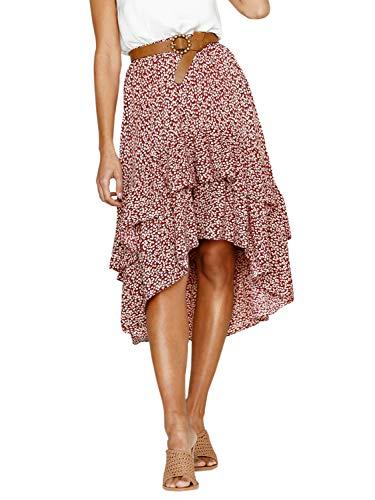 Conmoto Women's Elegant High Waist Polka Dot Skirt Asymmetrical Layer Ruffle Long Skirt Red - Tiered Leopard