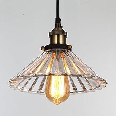 ONEPRE 1 Light Industrial Kitchen Island Glass Pendant Light, Antique Bronze
