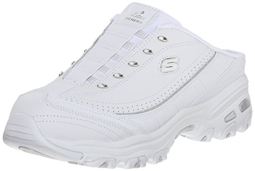 Skechers Sport Women's D'lites Bright Sky Fashion Sneaker, White/Silver, 9 W US (Best Tennis Shoes For Knee Problems)
