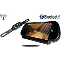 Tadibrothers 7 Inch Bluetooth Mirror with Wireless License Plate Backup Camera