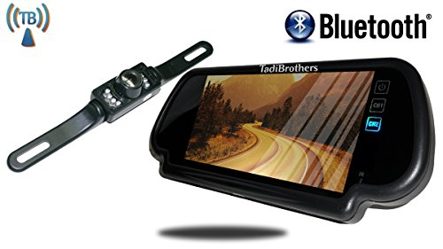 Tadibrothers 7 Inch Mirror with Bluetooth and License Plate Backup - Tadibrothers Camera Backup Mirror