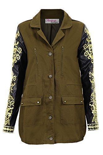 Gut Fantasia Boutique Damen PVC Gold Bestickt Langärmlig Khaki Damen Mantel  Twhwxi