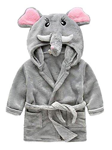 Toddler Kids Cartoon Hooded Plush Robe Animal Pajamas Fleece Bathrobe Children Sleepwear (4T, Elephant)