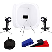 24x24 Photo Studio Soft Box Portable Table Top Photography Lighting Shooting Tents Lightbox Kit,4 Colors Backdrops,2 x 50w Studio Light and a mini tripod for Photography