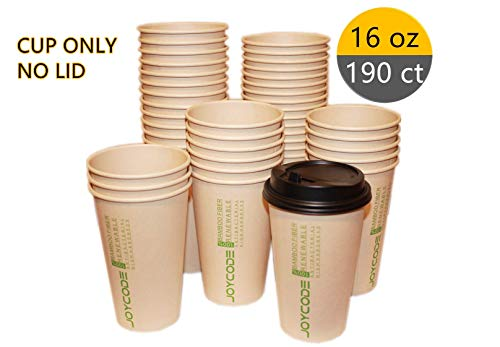 16 oz [12 Oz]Disposable Hot Coffee Paper Cups 100% Bamboo Fiber,190 [280] Counts, Cup -