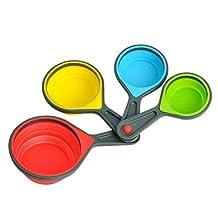 POPETPOP 4pcs cucharas de medición de Silicona de Colores cucharas de Cocina Herramientas tamaño L