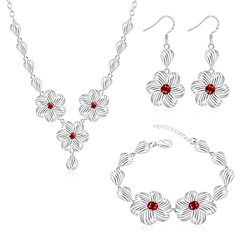 Women 925 Silver Plated Hollow Heart Pendant Necklace + Bracelet + Earrings Jewelry Set - 1