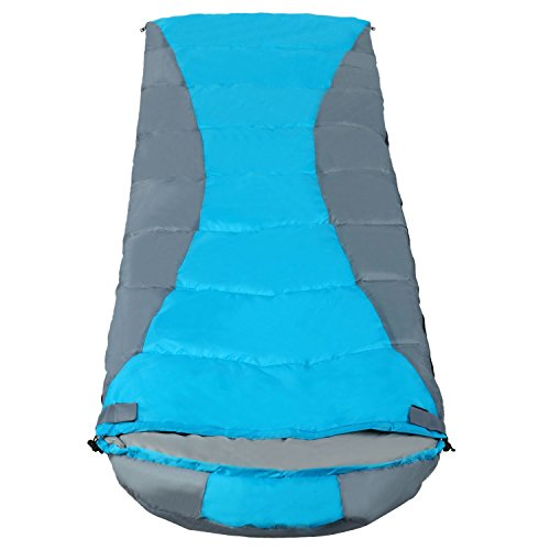 YUEBO Comfort Lightweight Outdoor Adults Sleeping Bag with Carrying Bag for Camping, Travel, Hiking, Backpacking (Blue&Gray, Single)