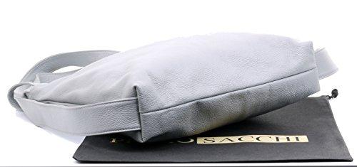 texturé cuir Clair de ® marque Gris Sacchi protection dos Rucksac Primo Grab sacs Mesdames Sac incudes sac en de à italiennes à bandoulière Pack rangement de Hwq4HpnxA