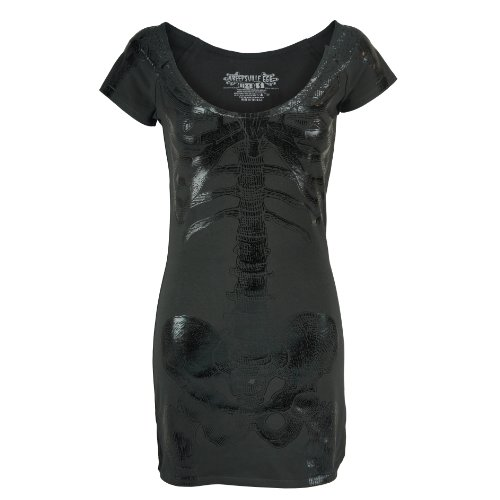 DRESS 666 Kreepsville black Black SKELETON TUNIC Kleid foil adqpI
