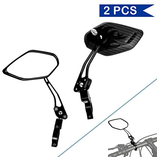 Bike Mirror, Veanic Universal Adjustable Rearview Handlebar Safety Glass Mirrors Lens for Mountain Road Cycling Bicycle Electric Bike – Pair