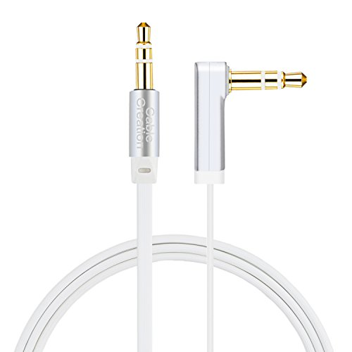 AUX Cable [10ft/3M ] CableCreation 3.5mm Male to Male Audio Auxiliary Cable 90 Degree Right Angle Compatible Car Stereos, iPod, iPhone, Sony Series, Beats and More,Silver and White