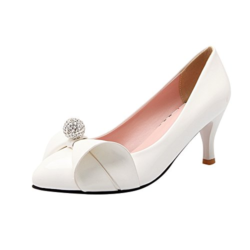 MissSaSa Damen high heel Pointed Toe Low cut Schleife Pumps mit Strass Weiß