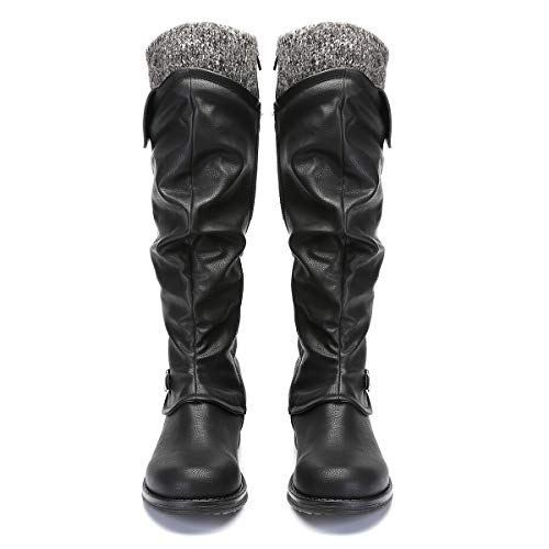 Women's Fur Long Winter Black Boots Casual Footwear Zip Heel High Riding Low with Snow Flat Ankle Buckle Shoes Ladies Boots Comfortable Leather Warm Size Closed Knee Toe Boots Black Grey Lined gracosy New q6axtt