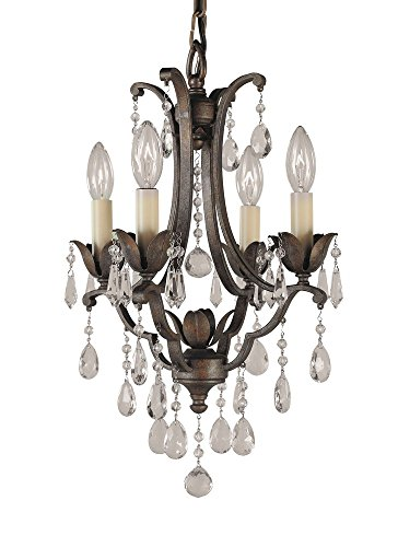 Murray Feiss F1881/4BRB, Maison De Ville Crystal Chandelier Lighting, 4 Light, 240 Watts, (Versailles Four Light Chandelier)