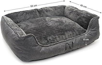 Happilax Cama para Perro pequeño, Cachorro o Gato Lavable con Almohada de Felpa Reversible en Gris: Amazon.es: Productos para mascotas