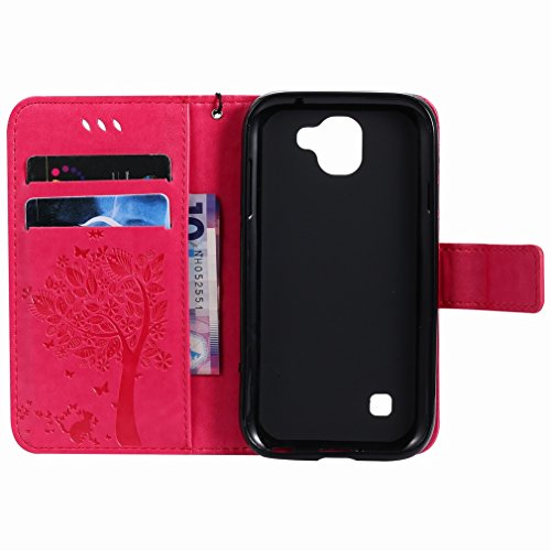 Yiizy LG K3 (2017) Custodia Cover, Alberi Disegno Design Premium PU Leather Slim Flip Wallet Cover Bumper Protective Shell Pouch with Media Kickstand Card Slots (Red Rose)