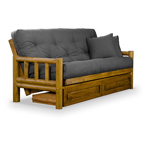 Rustic Tahoe Log Full Size Wood Futon Frame and Storage Drawers - Heritage Finish