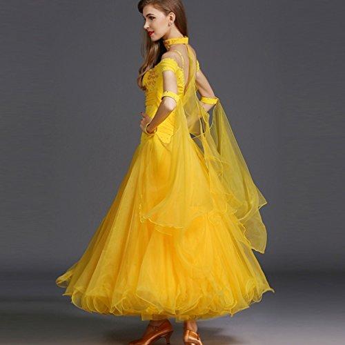 Moderno Valzer Accessori s Ballo Partita L Maniche Per Sala Abbigliamento Yellow Corte Da Tango Donne Wqwlf Costume Le Competizione Vestito Calzamaglia xawzTTAB