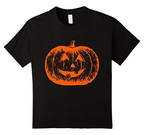 Kids Scary Face Halloween T-Shirt | Neon Orange Pumpkin Glow 8 (Really Scary Halloween Pumpkin Faces)