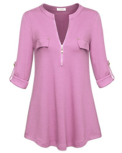 YaYa Bay Winter Tops for Women, Fashion Sexy Notch Neck Ladies Long Sleeve Tunic Blouses M Pink Zip Up Casual Button Down Blouses Shirt