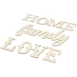 Home Family Love Sign - Set of 3 Unfinished Wooden Family Sign, Decorative Wood Letter Cutout, for Home Decoration, Housewarming Gift, DIY Craft