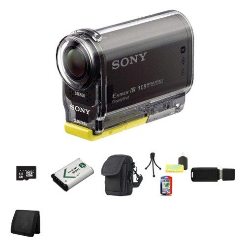 Sony High Definition POVアクションビデオカメラhdr-as30 V + 8 GBクラス4 SDHC MicroSDメモリカードwithアダプタ+ NP - bx1ライオンバッテリー+携帯ケースバンドル   B00FJHLXHS