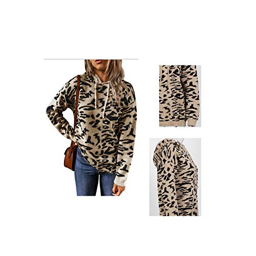 LovingPod Women Sweaters Casual Oversized Leopard Printed Crew Neck Hoodie Long Sleeve Knit Pullover Jumpers Tops for Winter(Khaki,XL)
