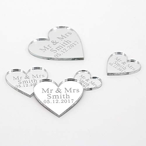 Viet JK Wedding Decorations - 50Pcs Personalized Engraved Acrylic Mirror Love Heart with Hole Gift Tags Wedding Party Table Confetti Decor Centerpieces Favors