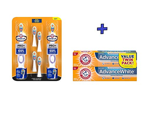Spinbrush PRO+ Deep Clean Powered Toothbrush + Advance White Extreme Whitening with Stain Defense, Fresh Mint, 6 oz Twin Pack (Toothbrush Pack + Fresh Mint, 6 oz Twin Pack) ()