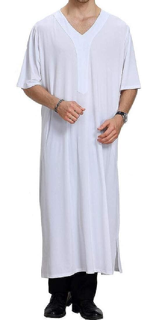 Spirio Men Ramadan V Neck Muslim Arab Short Sleeve Thobe Loose Solid Long Shirt