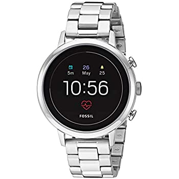 Fossil Womens Gen 4 Venture HR Heart Rate Stainless Steel Touchscreen Smartwatch, Color: Silver (Model: FTW6017)
